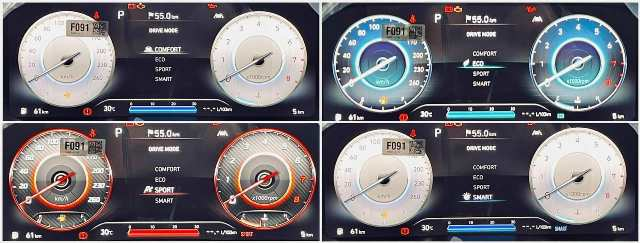 Màu sắc màn hình 4 chế độ lái Hyundai Santafe 2021